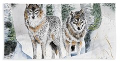 Wolves In The Birch Trees  Bath Towel
