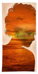 Woman And A Sunset Bath Towel