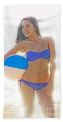 Woman Holding Beach Ball Hand Towel