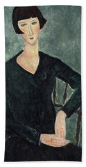 Woman In A Blue Dress Seated Hand Towel