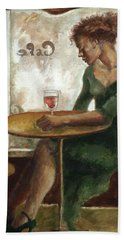 Woman In A Paris Cafe Bath Towel