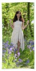 Woman In Bluebell Woodland Bath Towel