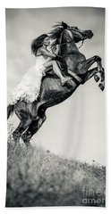 Bath Towel featuring the photograph Woman In Dress Riding Chestnut Black Rearing Stallion by Dimitar Hristov