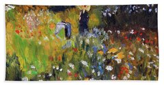 Bath Towel featuring the painting Woman In The Garden After Renoir by Michael Helfen