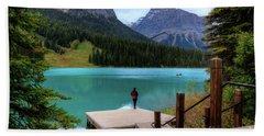 Woman Looking Emerald Lake Yoho National Park British Columbia Canada Hand Towel