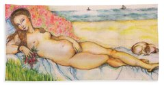 Woman On The Beach Bath Towel
