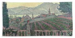 Woman On The Terrace Hand Towel