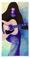 Woman Playing Guitar Hand Towel