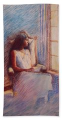 Woman Reading By Window Hand Towel