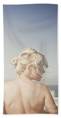 Hand Towel featuring the photograph Woman Relaxing On The Beach by Jorgo Photography - Wall Art Gallery