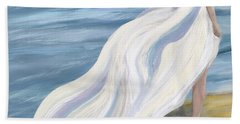 Woman Strolling On The Beach Hand Towel