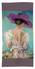 Woman Wearing A Purple Hat Hand Towel