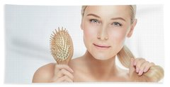 Woman With A Beautiful Healthy Hair Hand Towel