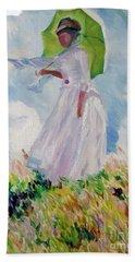 Woman With A Parasol Bath Towel
