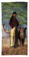 Hand Towel featuring the digital art Woman With Mountain Lion by Daniel Eskridge