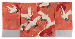 Woman's Haori With White And Red Cranes Bath Towel