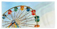 Hand Towel featuring the painting Wonder Wheel by Edward Fielding