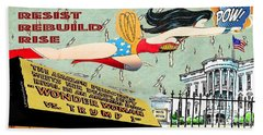 Hand Towel featuring the mixed media Wonder Women  by Linda Weinstock