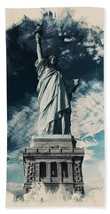 Wonders Of The Worlds - Lady Liberty Of New York Hand Towel