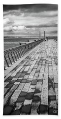 Wood And Pier Hand Towel by Perry Webster