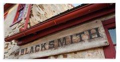 Wood Blacksmith Sign On Building Bath Towel