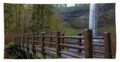 Wood Bridge At Silver Falls State Park Hand Towel