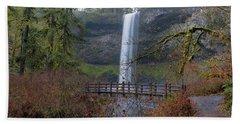 Wood Bridge On Hiking Trail At Silver Falls State Park Bath Towel