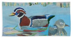 Hand Towel featuring the painting Wood Duck Pair by Francine Frank