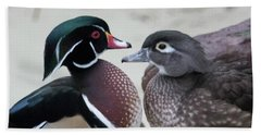 Wood Duck Pair In Love Bath Towel