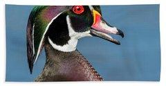 Wood Duck Portrait Hand Towel