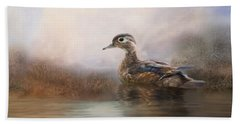 Hand Towel featuring the photograph Wood Duck by Robin-Lee Vieira