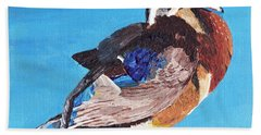 Hand Towel featuring the painting Wood Duck by Rodney Campbell