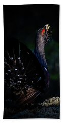 Bath Towel featuring the photograph Wood Grouse's Sunbeam by Torbjorn Swenelius