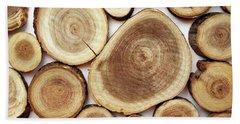 Wood Slices- Art By Linda Woods Bath Towel