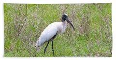 Wood Stork In The Marsh Hand Towel