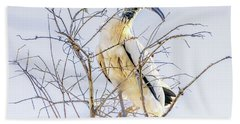 Wood Stork Sitting In A Tree Hand Towel