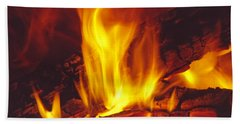 Wood Stove - Blazing Log Fire Hand Towel