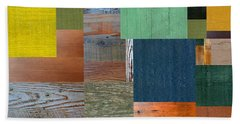 Wood With Teal And Yellow Bath Towel by Michelle Calkins