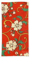 Woodblock Print Of Apple Blossoms Bath Towel