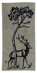 Woodcut Deer Bath Towel by Shirley Heyn