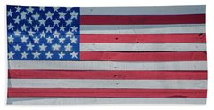 Bath Towel featuring the photograph Wooden American Flag by Bill Cannon