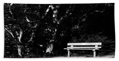 Wooden Bench In B/w Hand Towel