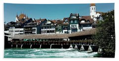Wooden Bridge Bath Towel by Mimulux patricia no No