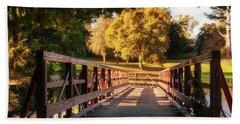 Wooden Bridge On The Rye Water - Maynooth, Ireland Bath Towel