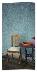 Wooden Chair And Iron Table Bath Towel