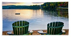 Wooden Chairs At Sunset On Beach Hand Towel