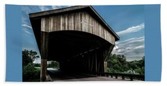 Wooden Covered Bridge In Rural Illinois Hand Towel
