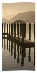 Wooden Dock In The Lake At Sunset Hand Towel