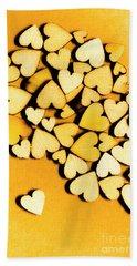 Wooden Hearts With Sentimental Single Bath Towel