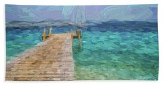 Wooden Jetty And Boat Hand Towel